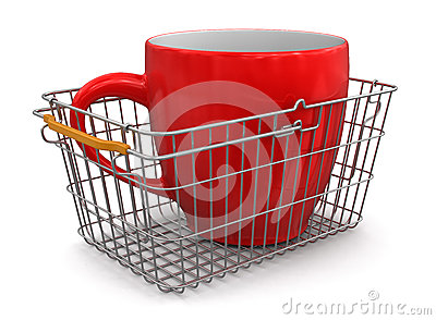 Shopping Basket and Cup (clipping path included)