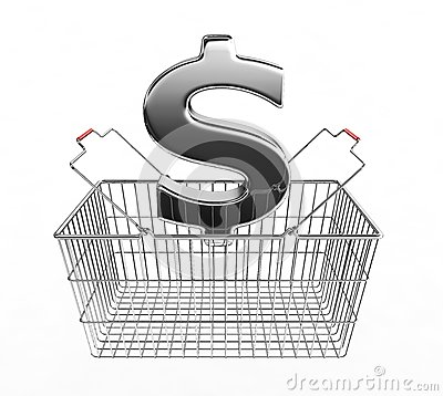 Shopping basket and dollar sign