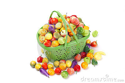 Shopping basket with fresh fruit