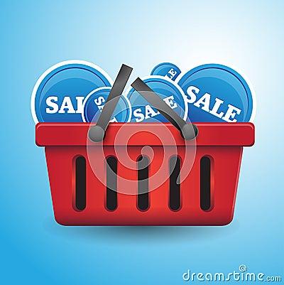 Shopping basket full of sales