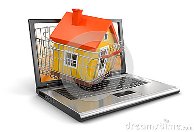Shopping Basket and Laptop with House (clipping path included)