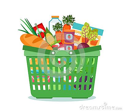 Free Shopping Basket With Food Vector Illustration Royalty Free Stock Images - 52483339