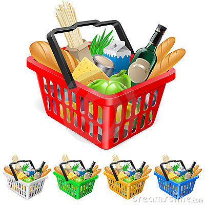 Free Shopping Basket With Foods. Royalty Free Stock Photography - 21210207