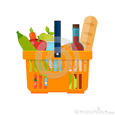 Free Shopping Basket With Foods. Healthy Organic Fresh And Natural Fo Royalty Free Stock Photo - 71983575