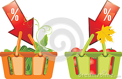 Shopping baskets with cucumbers and tomatoes