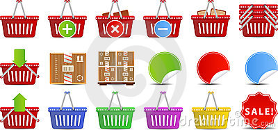 Shopping Baskets icon set