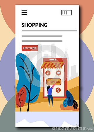 Shopping on boarding screens- Online shopping vector illustration Cartoon Illustration
