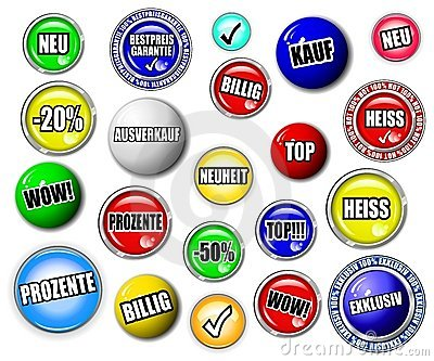 Shopping button, symbol set, GERMAN language