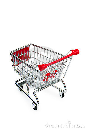 Shopping cart against the white