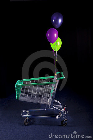 Shopping cart with ballons