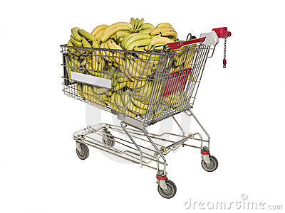 Shopping cart with bananas