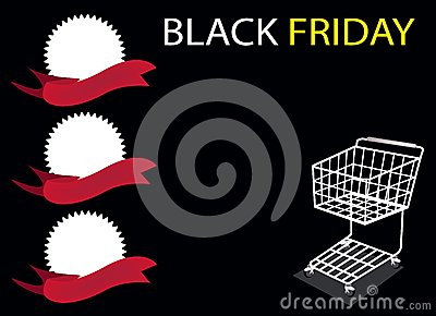 A Shopping Cart and Banner on Black Friday Backgro