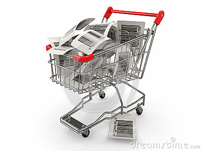 Shopping cart with barcode labels. 3d