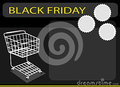 A Shopping Cart on Black Friday Background