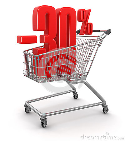 Shopping Cart and -30  (clipping path included)