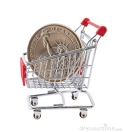 Shopping cart with dollar coin