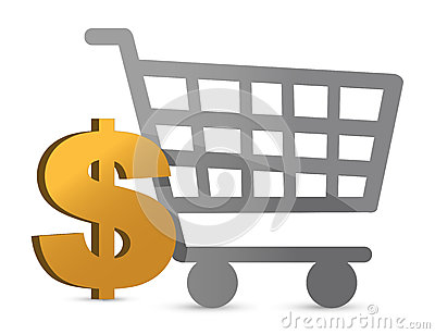 Shopping cart and dollar currency