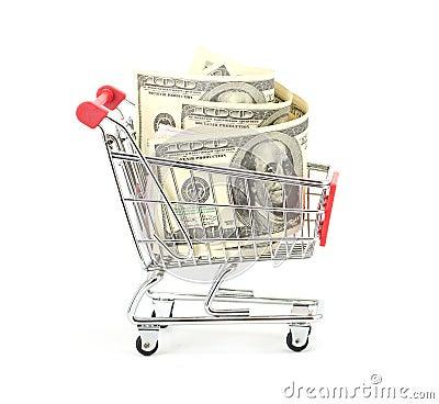 Shopping cart and dollars