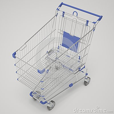 Shopping cart emty, one piece, blue