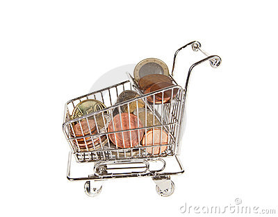 Shopping cart with euros