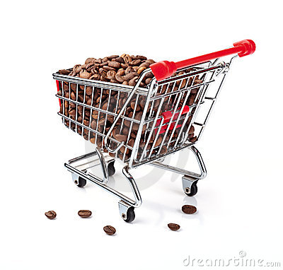 Shopping Cart Filled with Coffee Beans