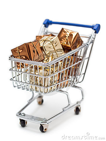 Shopping cart filled with gifts