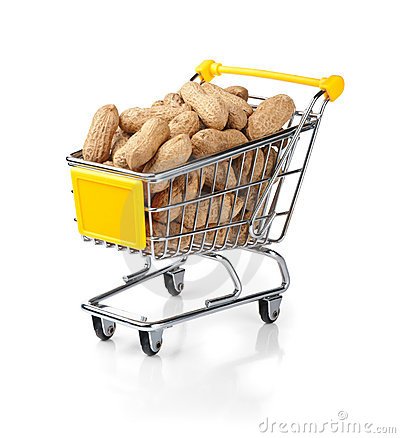 Shopping Cart Filled with Peanuts