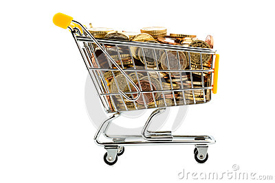 Cart and euro coins