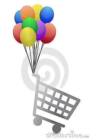 Shopping cart flying away illustration design