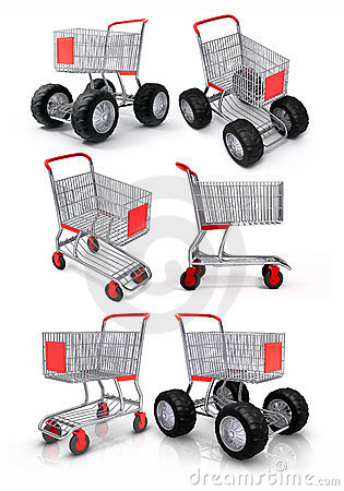 Free Shopping Cart For Food Store Stock Image - 4762461