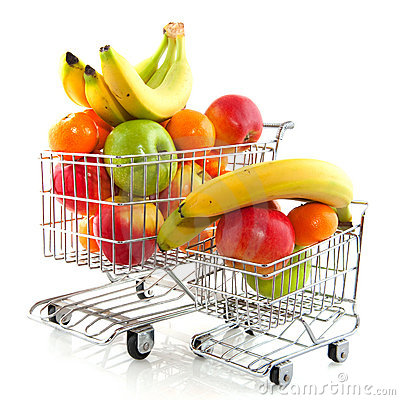 Shopping cart with fruit