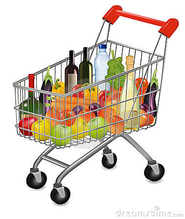 A shopping cart full of fresh colorful products.