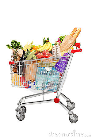 A Shopping Cart Full With Groceries Royalty Free Stock ...