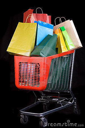 Free Shopping Cart Full Of Gifts Royalty Free Stock Photos - 7430538