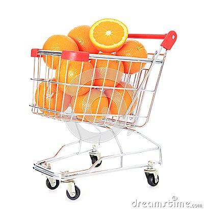 Shopping cart full of ripe oranges