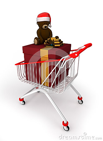 Shopping cart with gift box and teddy bear