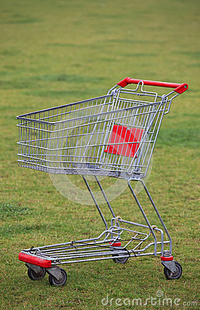 Shopping cart in the grass