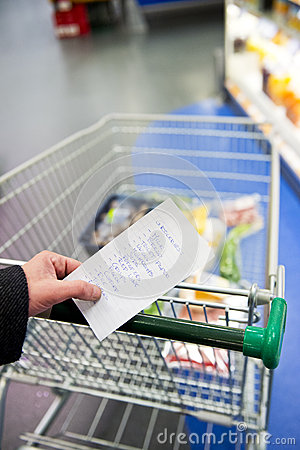 Shopping cart and groceries