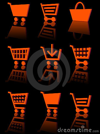 Shopping cart icon set 3d