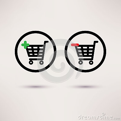 Free Shopping Cart Icons. Plus And Minus Signs. Vector Royalty Free Stock Photography - 48076407