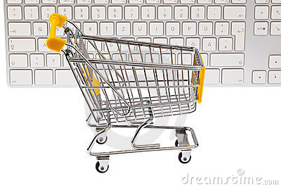 A shopping cart and keyboard