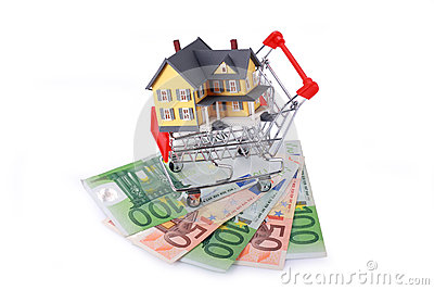 Shopping cart with miniature home on Euro banknotes