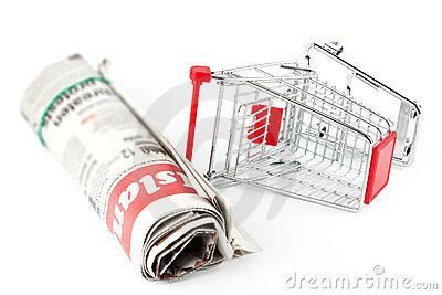 Shopping Cart and Newspaper