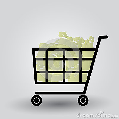 Shopping cart with packages eps10