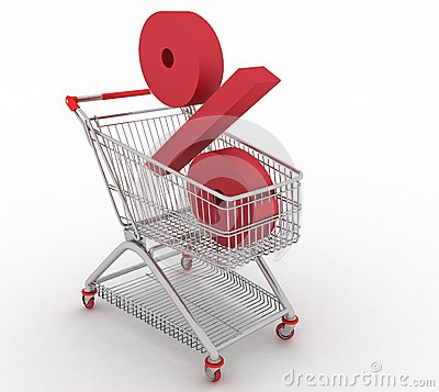 Shopping cart with of percentage