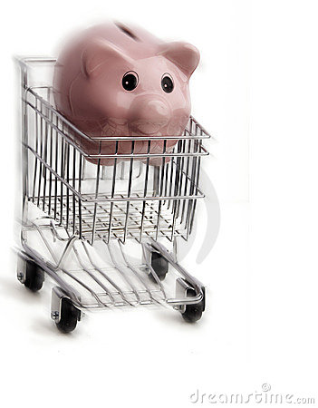 Shopping cart with piggybank moving fast
