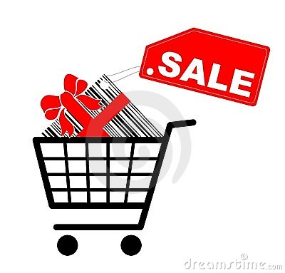Shopping cart with present and sale label