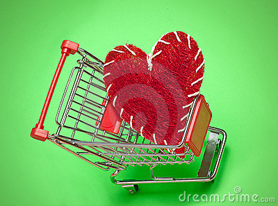 Shopping cart and red heart