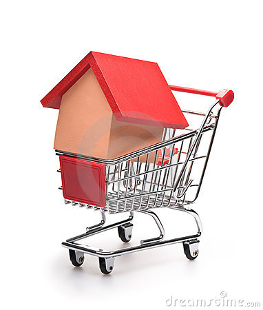 Shopping cart with red roofed house