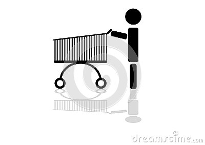The shopping cart with reflection